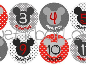 Baby Boy Mickey Month 2 Month Onesie Stickers, Baby Shower Gift