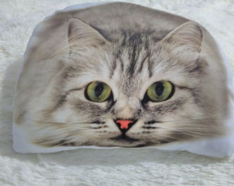 Cat photo pillow, personalized pillow, custom cat portrait, gift for children