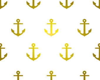 Satin gold anchor vinyl wall decal
