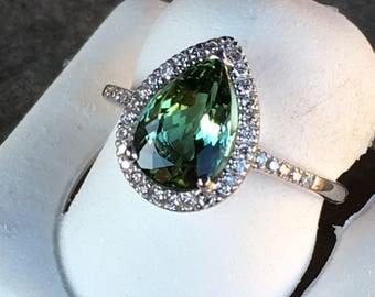 Green Tourmaline Diamond Ring 14k White Gold