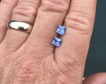Natural Sapphire Squares 2.02 Cts 5.5mm set