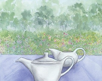 Teapot and jug soft watercolour, Morning Tea watercolour, Afternoon Tea, Afternoon Tea Painting, Coffee Time, Tea time, Girlfriends chat