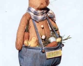 "Primitive Cloth Doll PATTERN ""Prim Bunny wit His Basket Pants"" HHF432"