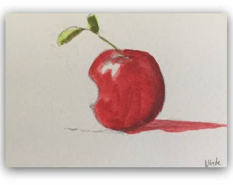 Apple ORIGINAL Miniature Watercolour ACEO Red Apple Kitchen Art For Him For Her Wall Art Decor Gift Idea, Free postage Worldwide