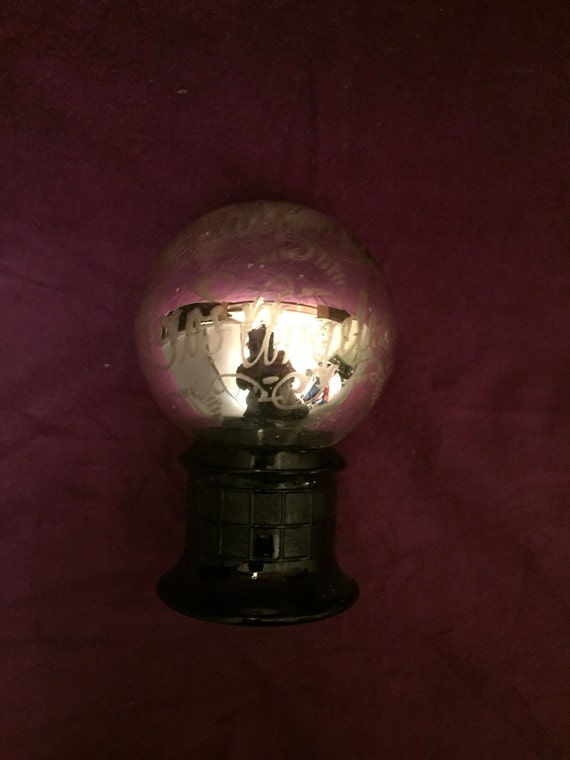 FREE SHIPPING-Chas. F. Zeller- Mercury Black Glass Butler Ball-Sphere- Paper Weight