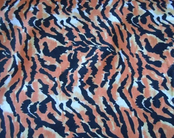 tiger cotton fabric by the yard black orange yellow white