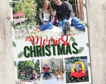 Printable photo Christmas card, Merriest Christmas printable family holiday card with photos, personalized, watercolor pine 4 photos