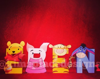 Winnie the Pooh and friends Custom Décor Letters