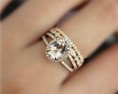 3 Rings! Handmade Set 7x9mm Oval Cut Natural VS Morganite Ring Set Engagement Ring Set Solid 14K Rose Gold Ring Set Bridal Set Unique Gift