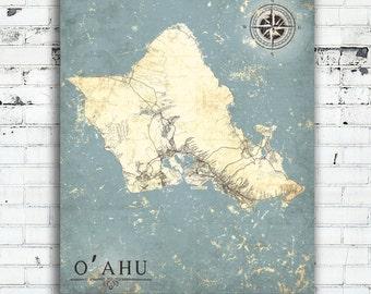 OAHU Island HI Canvas Print O'Ahu Hawaii Vintage map Oahu Hawaii hi City Vintage map Wall Art poster retro old Dark blue Turquoise large map