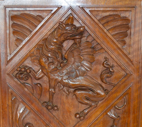 French Antique Carved Wood Cupboard Door Wall Panel
