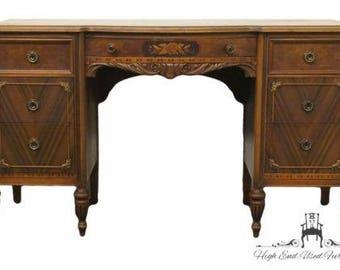 1920's Antique French Regency 52″ Vanity / Desk w/ Floral