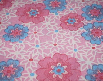 Vintage Stoff fabric 70s 70er cotton flowers 50 x 125 cm