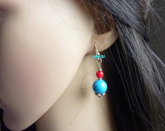 Earrings with turquoise, coral and silver.