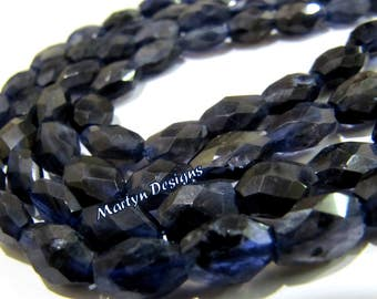 Genuine Iolite Mani Shape Beads , Oval Faceted Natural Iolite Beads , Size approx 6x8mm  , Strand 13 inch long, Semi Precious Gemstone Beads