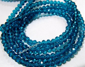Super Quality Swiss Blue Topaz Color Beads , 100 Beads Approx per Strand , 3-4mm Size Beads , Rondelle Faceted Hydro Quartz Beads