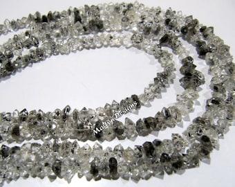 Top Quality Natural Herkimer Diamond Quartz Beads 5 to 8mm , Faceted Rough Quartz Nugget Beads , Strand 8 inches , Tourmalated Quartz Beads.
