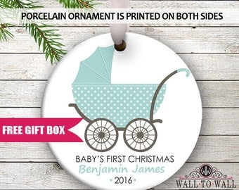 Baby's First Christmas Personalized 1st Christmas Holiday Ornament Carriage Stroller Custom New Baby Shower Gift Ornament Babies Newborn