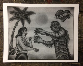 Creature from the Black Lagoon print (b&g)