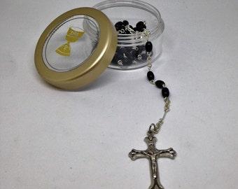 Vintage Silver Link Rosary, Vintage Black Bead Rosary, Catholic Rosary, Silver Crucifix, Vintage Black Prayer Beads