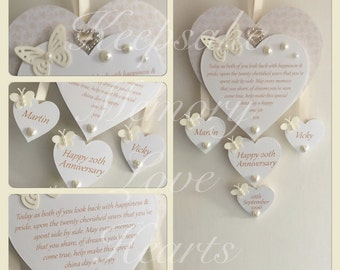 20th China Anniversary gift personalised wooden keespake heart