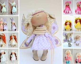 Butterfly doll Angel doll Handmade doll Tilda doll Violet doll Soft doll Cloth doll Textile doll Rag doll Nursery doll poupée chiffon Olga