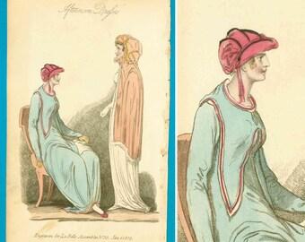 Antique 1809 Regency Georgian fashion print Belle Assemblee unusual fashions cerise shoes