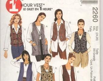 Misses'  1 Hour Unlined Vests In Two Lengths Sizes 20 Thru 22 McCalls Pattern 2260