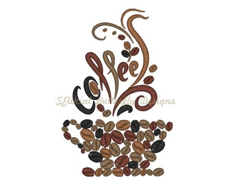 "Coffee bean cup machine embroidery design- 3 sizes 4x4"", 5x7"", 6x10"""