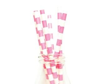25 Hot Pink Horizontal Striped Paper Straws, White and Hot Pink Striped Straws, Paper Straws, Hot Pink Party Straws, Hot Pink Paper Straws.