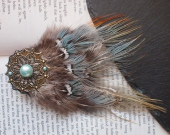 Pheasant Feather Hair Clip with Unusual Light Blue, Grey and Green Feathers. Blue Pearl Beads on a Gold Mandala. Hippy, Bohemian Hair Clip.