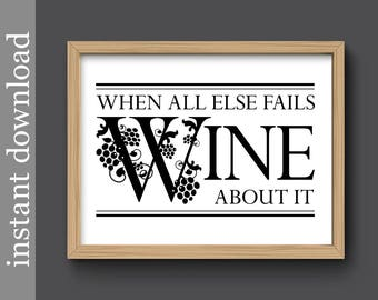 Wine Printable, wine quote, wine gift, wine wall art, wine decor, wine about it, wine bar art, wine download, wine print, wine lover gift