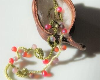 Beaded Bracelet ,Crocheted Bracelet ,Lace Bracelet,handmade Bracelet ,Boho Chic Bracelet,Gift for her