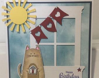 Handmade cat birthday card.