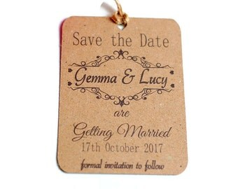 Save the date wedding cards, kraft card save the date, Wedding save the date, rustic save the date, hanging save the date