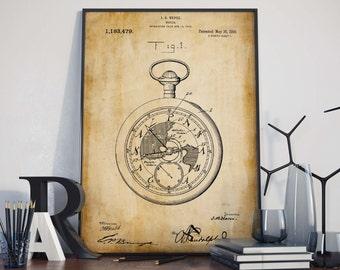 Pocket Watch Art| Vintage Watch Print| Pocket Watch| Watch Patent Poster| Watch Poster| Watch Wall Art| Watch Wall Print| Wall Print| HPH431