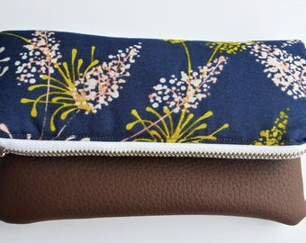 Navy - Brown Spring Leaf Fold-Over Pouch - Clutch