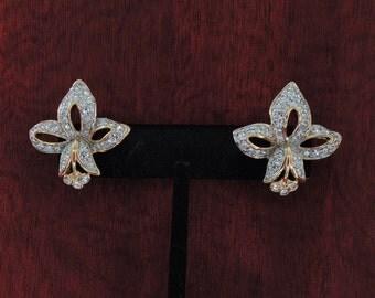 Fleur de Lis Earrings Swarovski Crystal Swan Mark Pierced Post Classic French Design