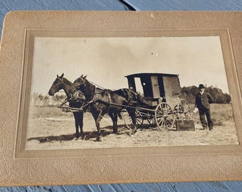1800's Cabinet Card Photo Horses & Buggy Wagon w/ Man Traveling Salesman (?)