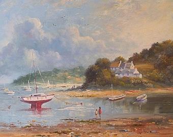 Richard Blowey Original Oil Painting - Coastal Scene With Boats