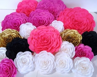 12 large Paper Flowers Giant paper flowers bridal kate baby shower spade wedding backdrop Paper wall arch hot pink gold White black nursery