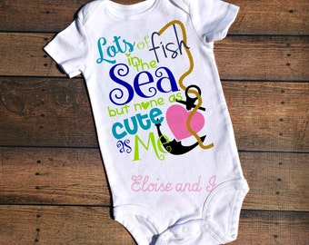 fish in the sea, funny baby clothes girl, baby outfits for boys, baby cloths, summer baby outfit, beach baby shower gift, spring baby shirt