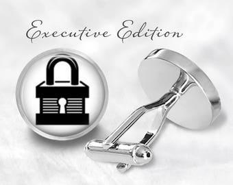 Padlock Cufflinks - Lock Cufflinks - Padlock Cuff Links - Lock and Key Cuff Links (Pair) Lifetime Guarantee (S0703)