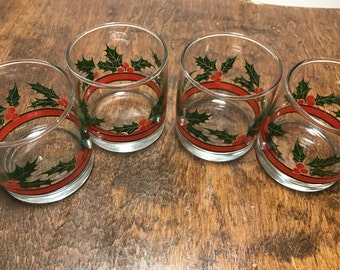 Vintage Set of Four Low Ball Christmas Holly Glasses