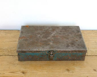 Vintage metal industrial tool box green blue.Desk organizer.Catchall.Industrial storage.Industrial tray teal.Jewelry office organizer.