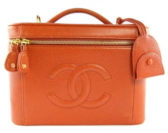 Chanel Vintage Orange Caviar Leather Beauty Case c. 2000s