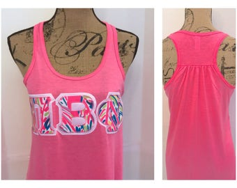 lilly pulitzer greek letter shirt any letters stitched on bella flowy tank top