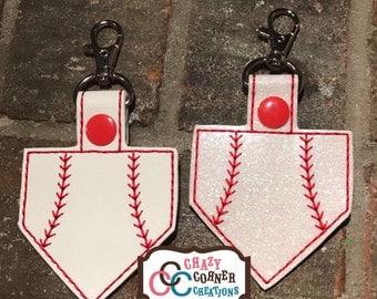 Homeplate Baseball Keychain-Homeplate baseball bagtag-Baseball keychain-baseball bagtag