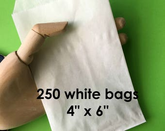 White Paper Bags (250) . 4x6 Flat Merchandise Bags Packaging Wedding Favors Treats Gift Bags Product Packaging Bulk Qty Small Flat Bags