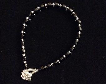 Black hexagon  and silver bracelet